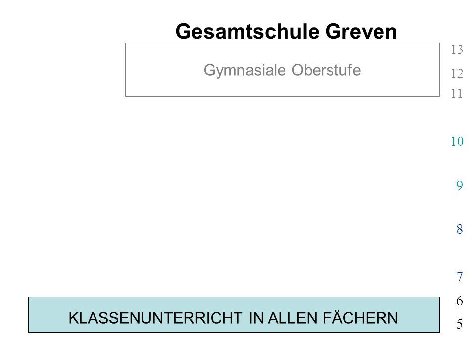 KLASSENUNTERRICHT IN ALLEN FÄCHERN 5 6 Gesamtschule Greven 7 8 9 10 11 12 13 Gymnasiale Oberstufe