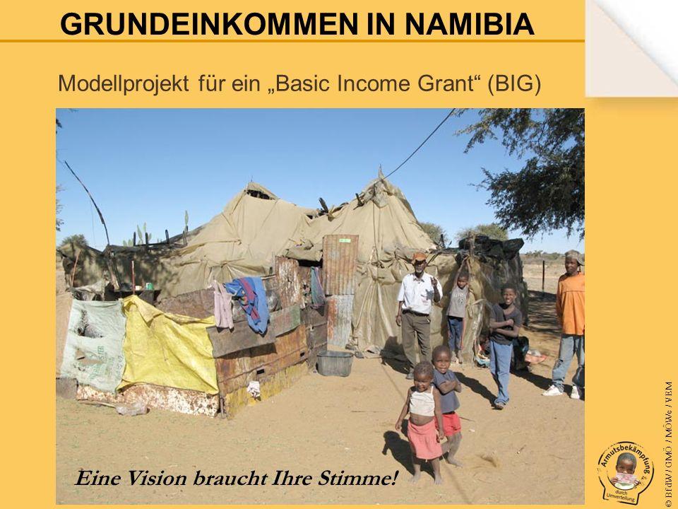 © BfdW / GMÖ / MÖWe / VEM EINE VISION BRAUCHT IHRE STIMME Ziel des zweijährigen Pilotprojekts ist es, die namibische Regierung zur landesweiten Einführung eines bedingungslosen Grundeinkommens zu bewegen.