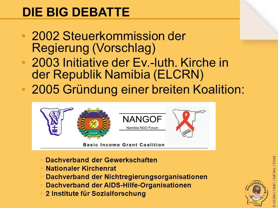© BfdW / GMÖ / MÖWe / VEM 2002 Steuerkommission der Regierung (Vorschlag) 2003 Initiative der Ev.-luth.