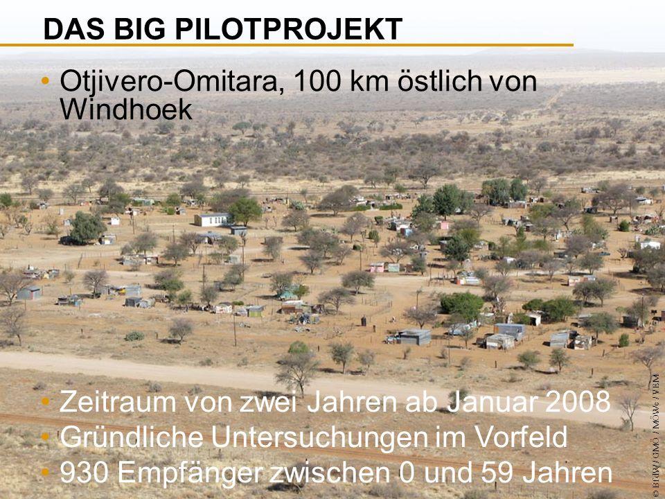 © BfdW / GMÖ / MÖWe / VEM Otjivero-Omitara, 100 km östlich von Windhoek Zeitraum von zwei Jahren ab Januar 2008 Gründliche Untersuchungen im Vorfeld 930 Empfänger zwischen 0 und 59 Jahren DAS BIG PILOTPROJEKT