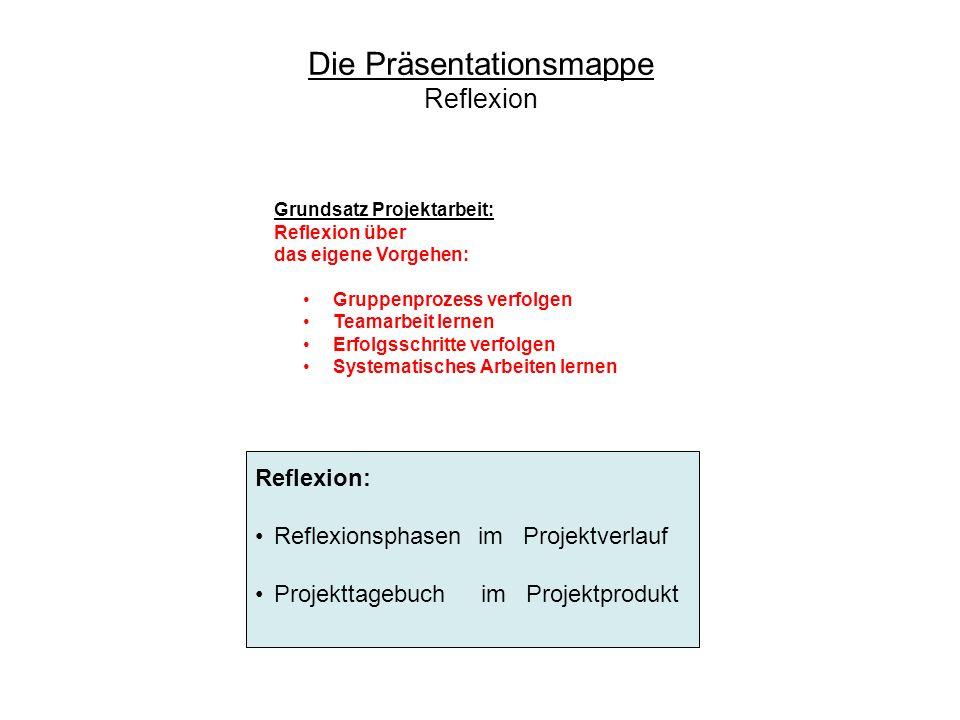 Grundsatz Projektarbeit: Reflexion über das eigene Vorgehen: Gruppenprozess verfolgen Teamarbeit lernen Erfolgsschritte verfolgen Systematisches Arbei