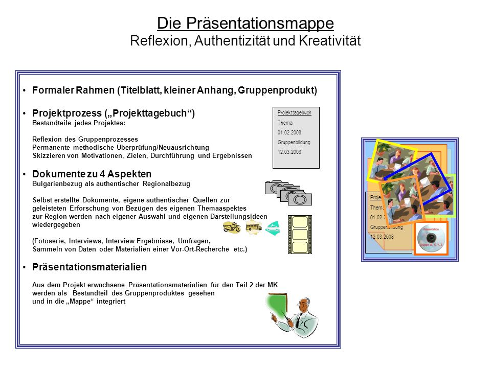 Die Präsentationsmappe Reflexion, Authentizität und Kreativität Projekttagebuch Thema 01.02.2008 Gruppenbildung 12.03.2008 Formaler Rahmen (Titelblatt