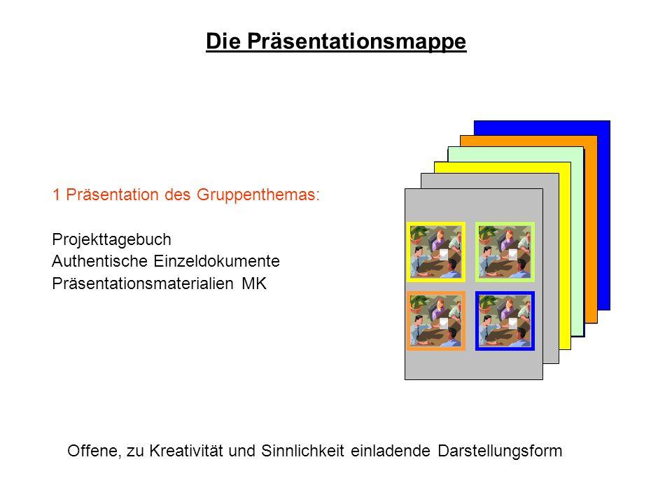 1 Präsentation des Gruppenthemas: Projekttagebuch Authentische Einzeldokumente Präsentationsmaterialien MK Die Präsentationsmappe Offene, zu Kreativit