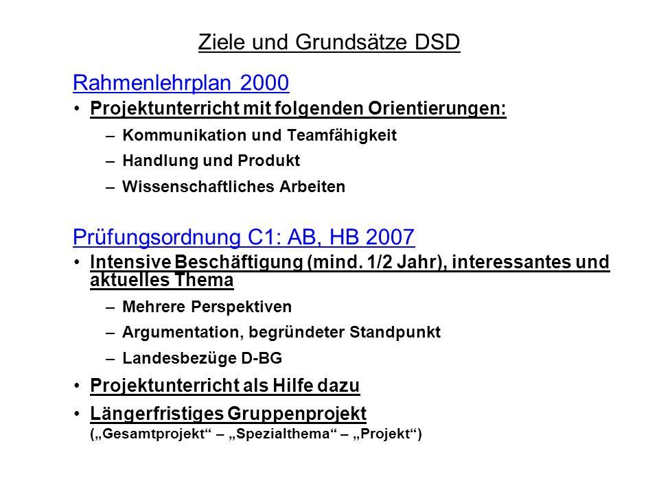 Rahmenlehrplan 2000 Projektunterricht mit folgenden Orientierungen: –Kommunikation und Teamfähigkeit –Handlung und Produkt –Wissenschaftliches Arbeite