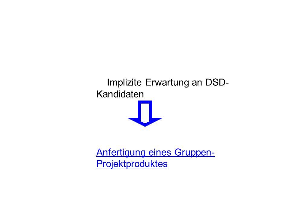 Implizite Erwartung an DSD- Kandidaten Anfertigung eines Gruppen- Projektproduktes