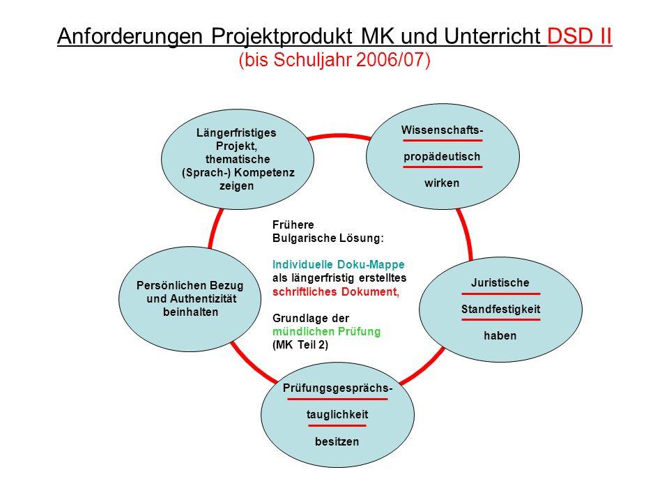 Anforderungen Projektprodukt MK und Unterricht DSD II (bis Schuljahr 2006/07) Längerfristiges Projekt, thematische (Sprach-) Kompetenz zeigen Wissensc
