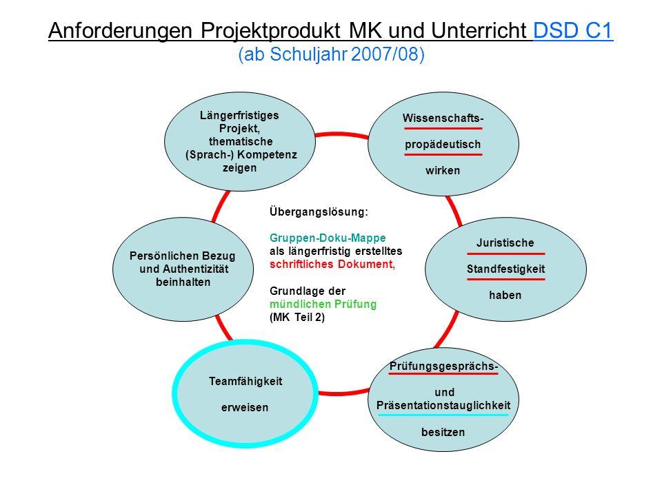 Anforderungen Projektprodukt MK und Unterricht DSD C1 (ab Schuljahr 2007/08) Längerfristiges Projekt, thematische (Sprach-) Kompetenz zeigen Wissensch