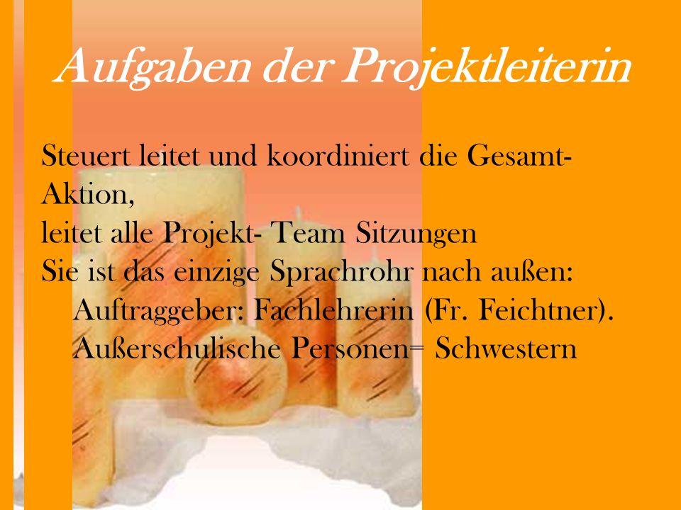 Aufgaben der Projektleiterin Steuert leitet und koordiniert die Gesamt- Aktion, leitet alle Projekt- Team Sitzungen Sie ist das einzige Sprachrohr nach außen: Auftraggeber: Fachlehrerin (Fr.