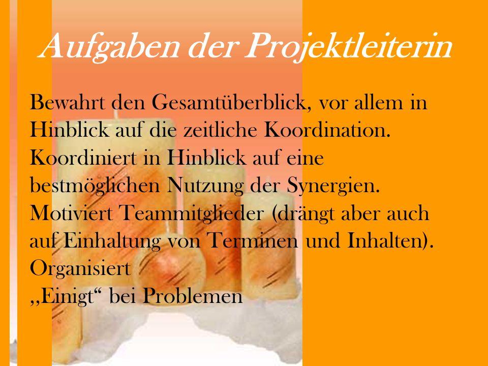 Aufgaben der Projektleiterin Bewahrt den Gesamtüberblick, vor allem in Hinblick auf die zeitliche Koordination.