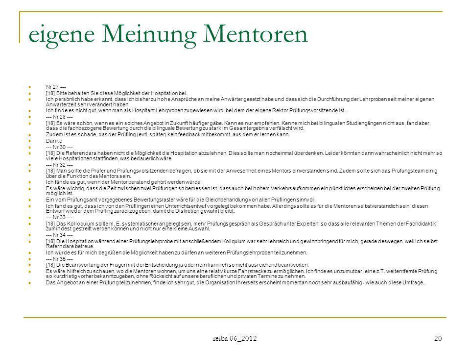 reiba 06_2012 20 eigene Meinung Mentoren Nr 27 --- [18] Bitte behalten Sie diese Möglichkeit der Hospitation bei. Ich persönlich habe erkannt, dass ic