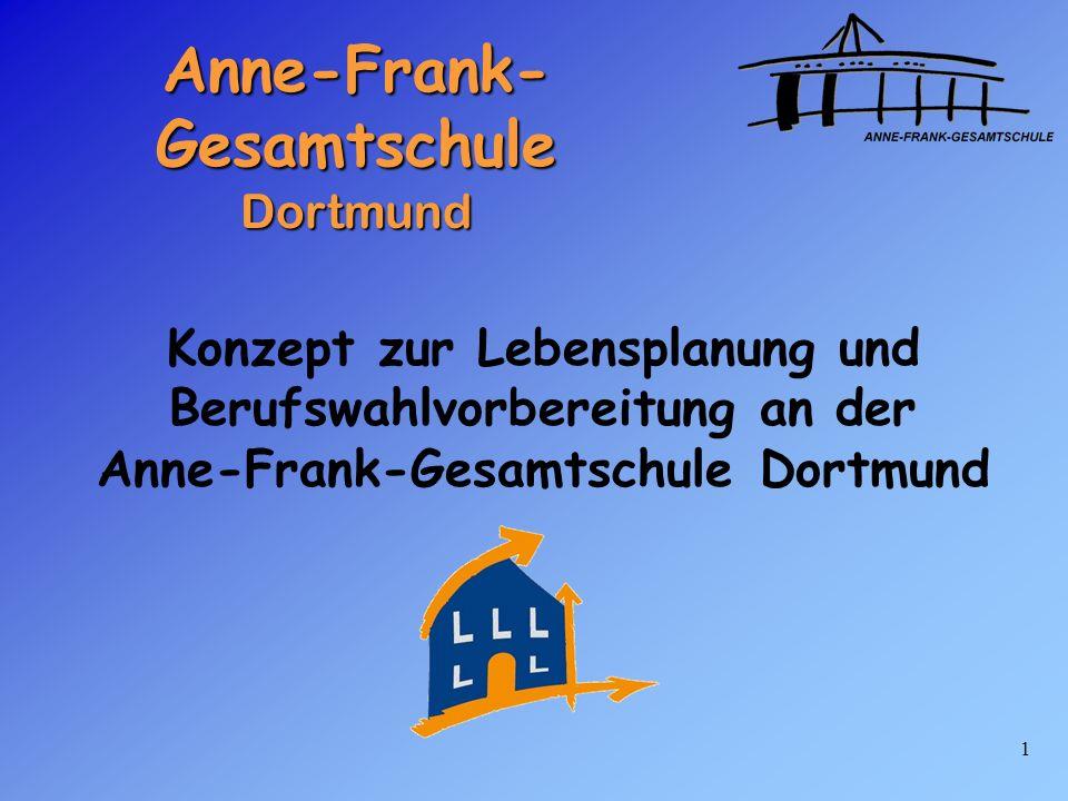 1 Anne-Frank- Gesamtschule Dortmund Konzept zur Lebensplanung und Berufswahlvorbereitung an der Anne-Frank-Gesamtschule Dortmund