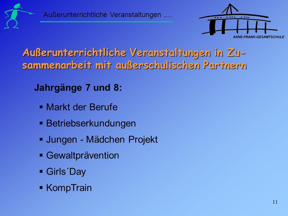 11 Markt der Berufe Betriebserkundungen Jungen - Mädchen Projekt Gewaltprävention Girls´Day KompTrain Außerunterrichtliche Veranstaltungen.... Jahrgän