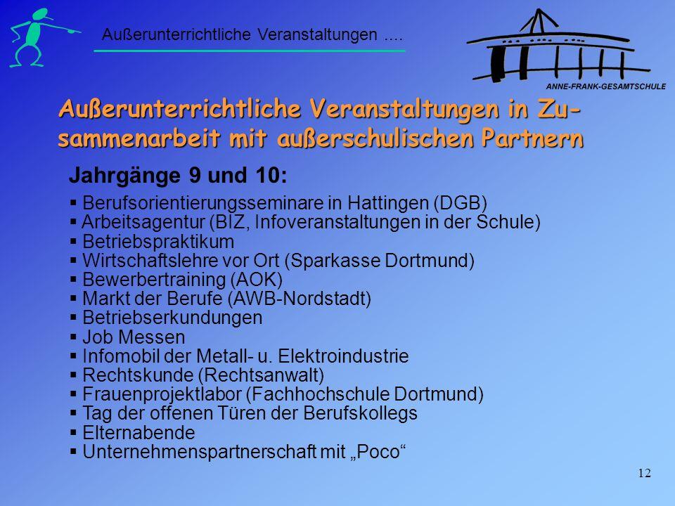 12 Berufsorientierungsseminare in Hattingen (DGB) Arbeitsagentur (BIZ, Infoveranstaltungen in der Schule) Betriebspraktikum Wirtschaftslehre vor Ort (