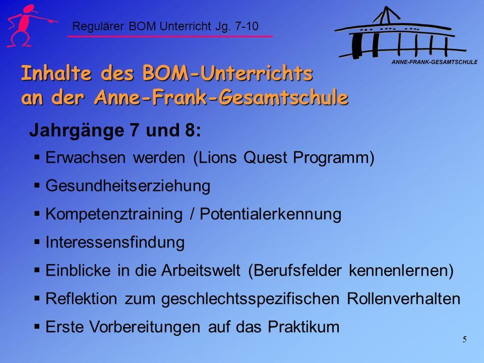 6 Inhalte des BOM-Unterrichts an der Anne-Frank-Gesamtschule Themenschwerpunkte der Jahrgänge 9 und 10: Konkrete Berufsvorbereitung Individuelle Lebensplanung Info über die Angebote der Sek.