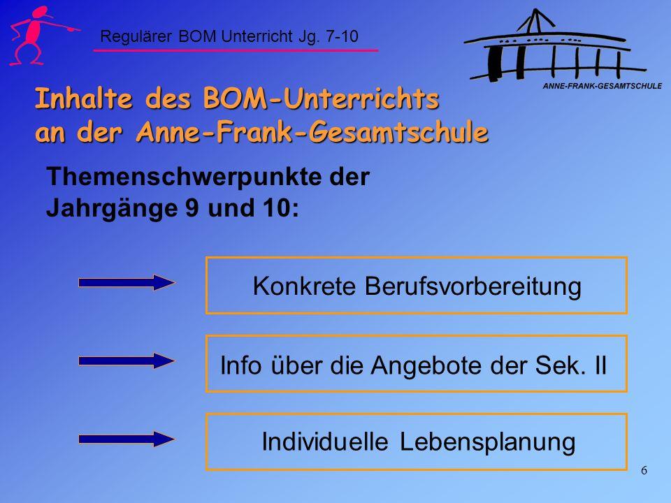 6 Inhalte des BOM-Unterrichts an der Anne-Frank-Gesamtschule Themenschwerpunkte der Jahrgänge 9 und 10: Konkrete Berufsvorbereitung Individuelle Leben