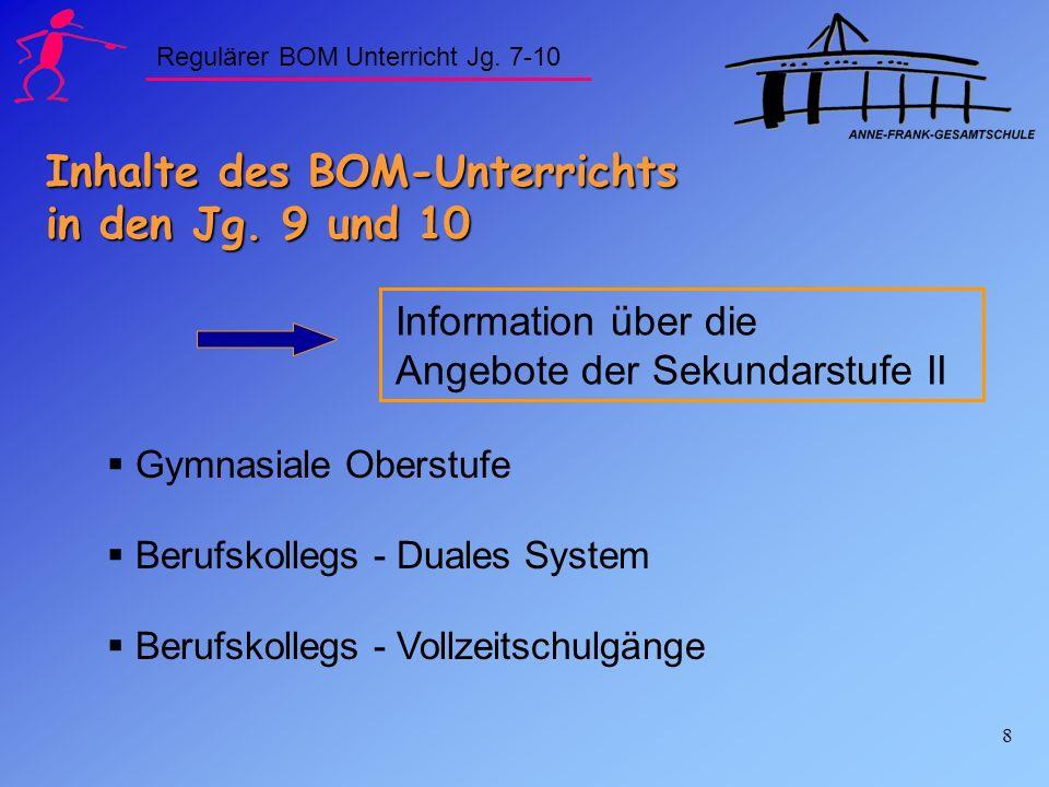 8 Inhalte des BOM-Unterrichts in den Jg. 9 und 10 Information über die Angebote der Sekundarstufe II Gymnasiale Oberstufe Berufskollegs - Duales Syste