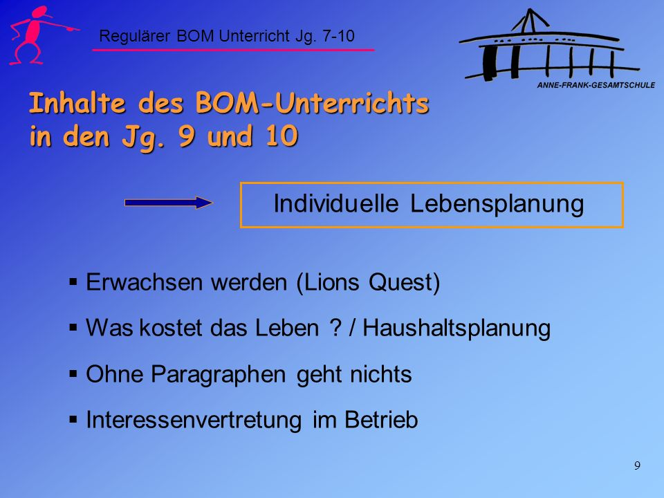 9 Inhalte des BOM-Unterrichts in den Jg. 9 und 10 Individuelle Lebensplanung Erwachsen werden (Lions Quest) Was kostet das Leben ? / Haushaltsplanung