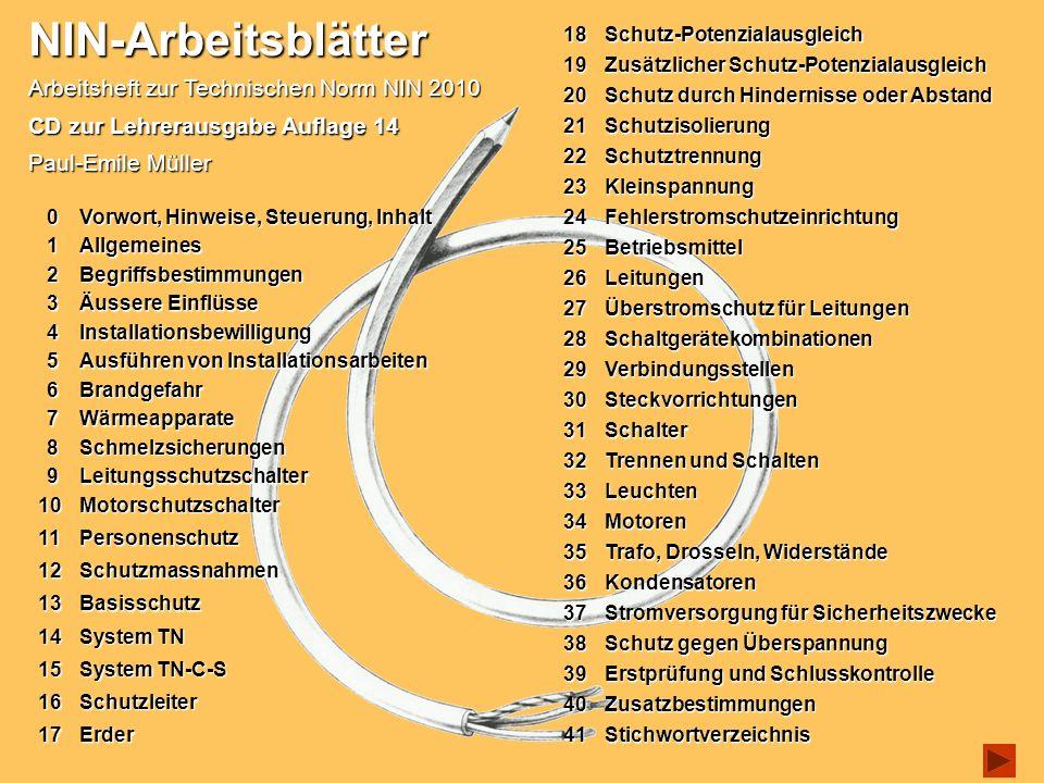 NIN-Arbeitsblätter Arbeitsheft zur Technischen Norm NIN 2010 CD zur Lehrerausgabe Auflage 14 Paul-Emile Müller 10Motorschutzschalter 10Motorschutzscha