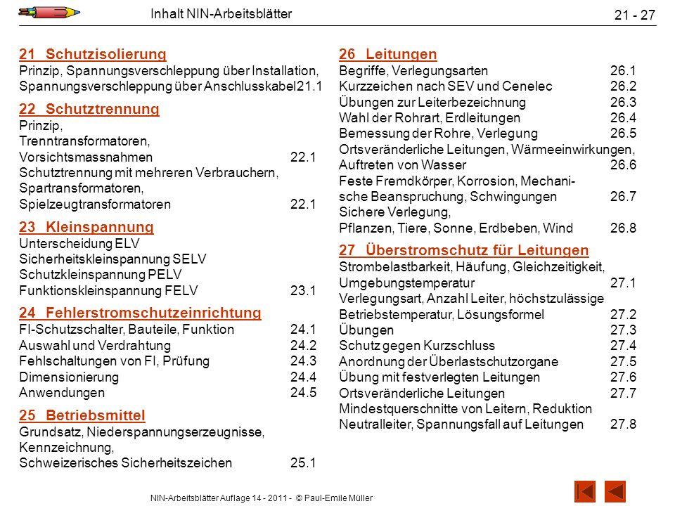NIN-Arbeitsblätter Auflage 14 - 2011 - © Paul-Emile Müller Inhalt NIN-Arbeitsblätter 21 - 27 21Schutzisolierung Prinzip, Spannungsverschleppung über I
