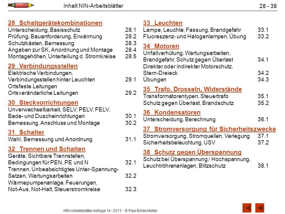 NIN-Arbeitsblätter Auflage 14 - 2011 - © Paul-Emile Müller Inhalt NIN-Arbeitsblätter 28 - 38 28Schaltgerätekombinationen Unterscheidung, Basisschutz28