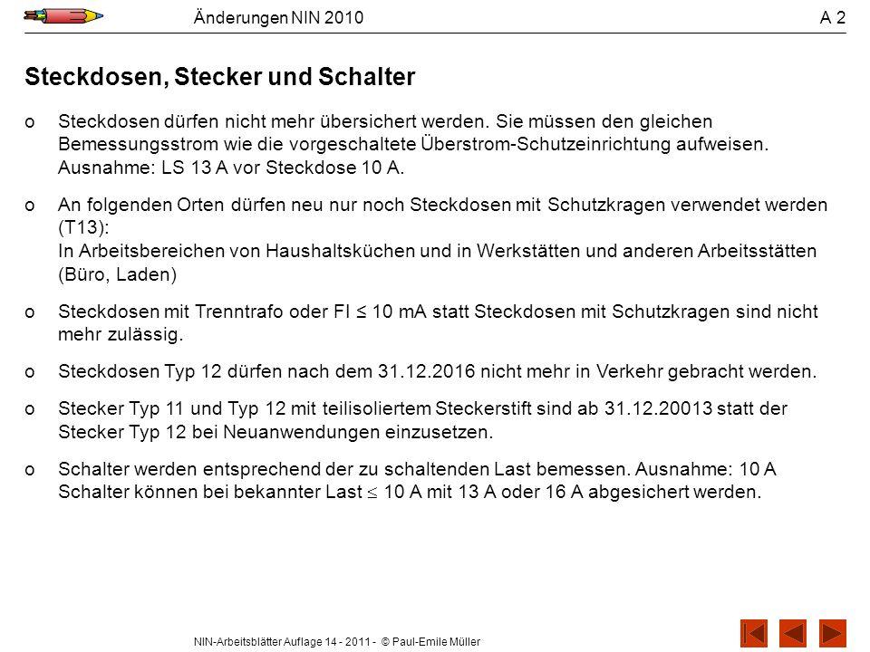 NIN-Arbeitsblätter Auflage 14 - 2011 - © Paul-Emile Müller Änderungen NIN 2010 A 2 Steckdosen, Stecker und Schalter oSteckdosen dürfen nicht mehr über