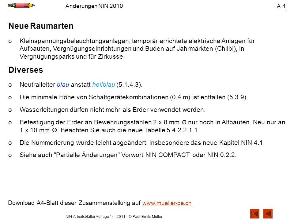 NIN-Arbeitsblätter Auflage 14 - 2011 - © Paul-Emile Müller Änderungen NIN 2010 A 4 Neue Raumarten oKleinspannungsbeleuchtungsanlagen, temporär erricht