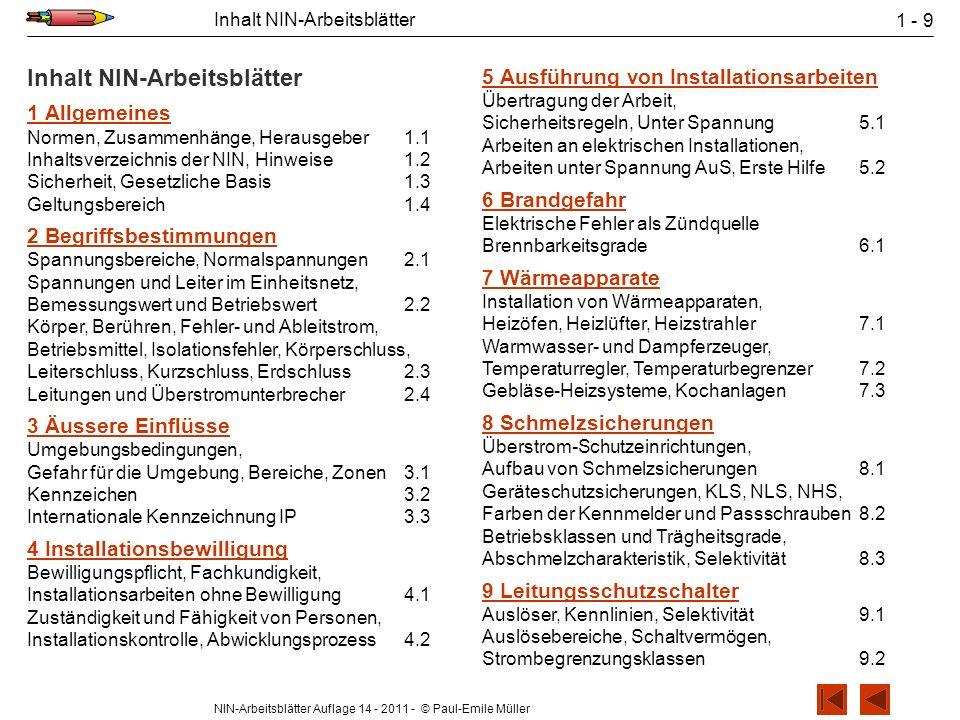 NIN-Arbeitsblätter Auflage 14 - 2011 - © Paul-Emile Müller Inhalt NIN-Arbeitsblätter 1 - 9 Inhalt NIN-Arbeitsblätter 1Allgemeines Normen, Zusammenhäng