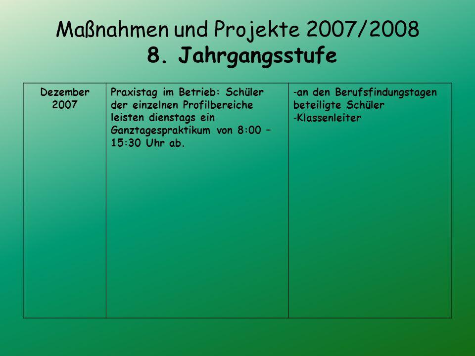 Maßnahmen und Projekte 2007/2008 8.