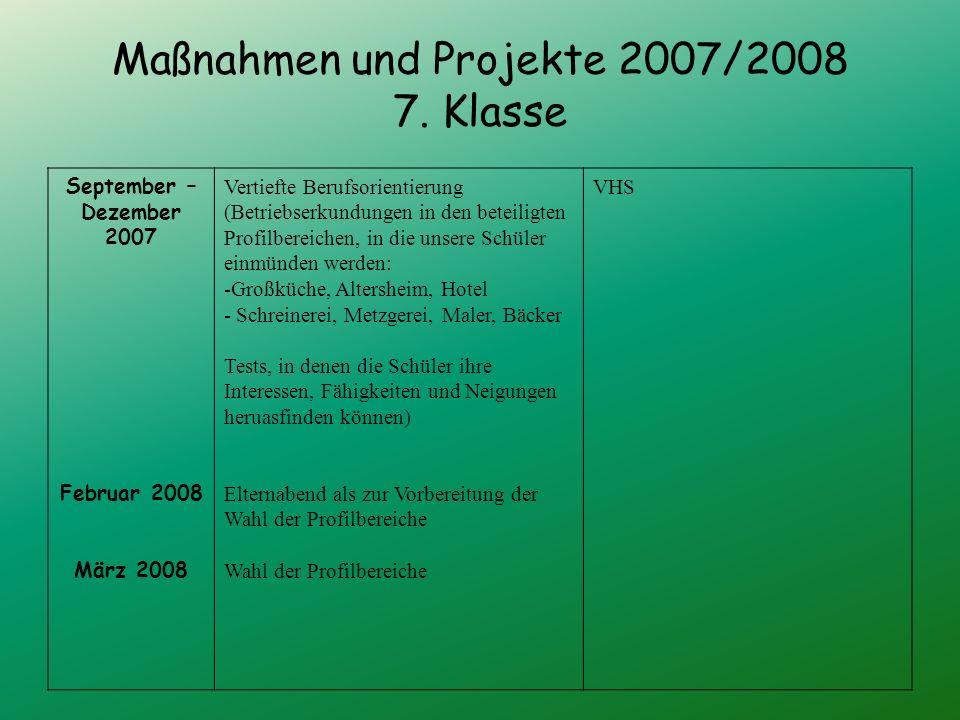 Maßnahmen und Projekte 2007/2008 7.
