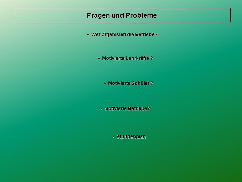 Fragen und Probleme - Wer organisiert die Betriebe.
