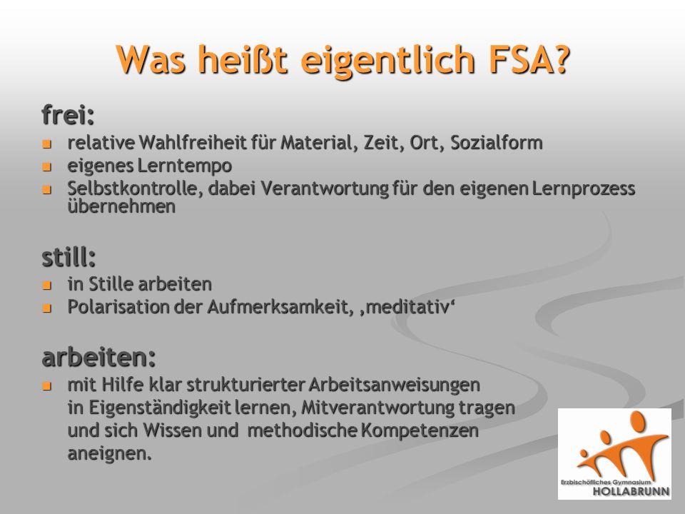 Was heißt eigentlich FSA.