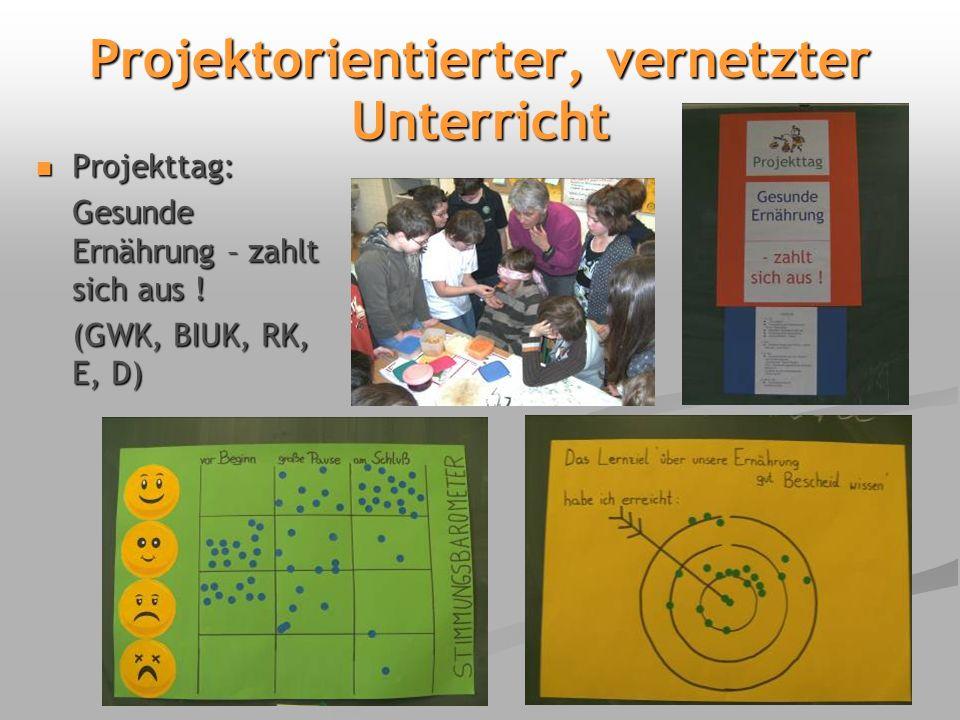 Projektorientierter, vernetzter Unterricht Projekttag: Projekttag: Gesunde Ernährung – zahlt sich aus .