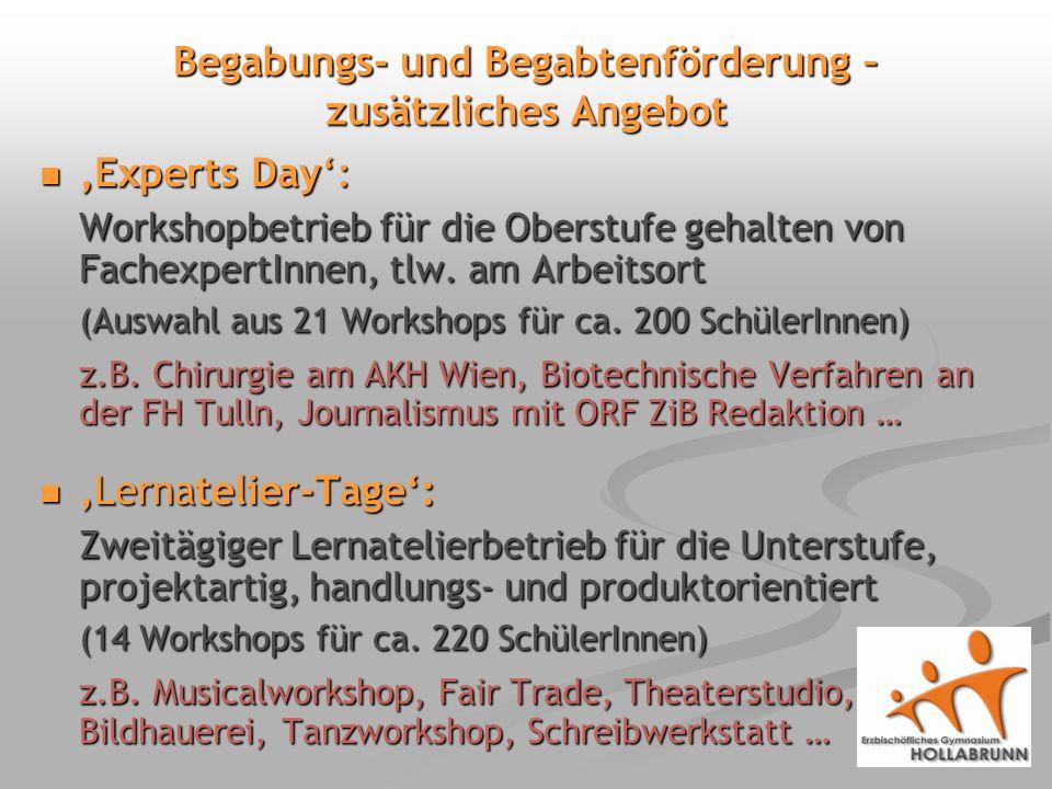 Begabungs- und Begabtenförderung – zusätzliches Angebot Experts Day: Experts Day: Workshopbetrieb für die Oberstufe gehalten von FachexpertInnen, tlw.