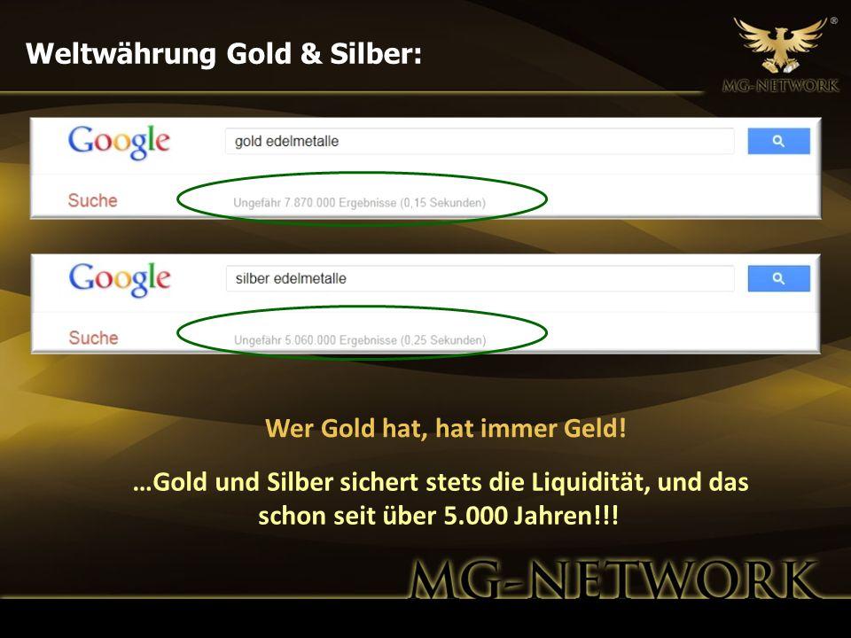 Weltwährung Gold & Silber: Wer Gold hat, hat immer Geld! …Gold und Silber sichert stets die Liquidität, und das schon seit über 5.000 Jahren!!!