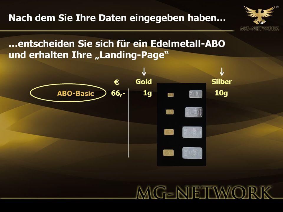 Nach dem Sie Ihre Daten eingegeben haben… GoldSilber 1g10g 66,- ABO-Basic …entscheiden Sie sich für ein Edelmetall-ABO und erhalten Ihre Landing-Page