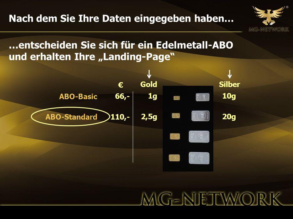 Nach dem Sie Ihre Daten eingegeben haben… GoldSilber 1g 2,5g 10g 20g 66,- 110,- ABO-Basic ABO-Standard …entscheiden Sie sich für ein Edelmetall-ABO un