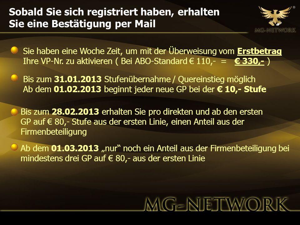 Sobald Sie sich registriert haben, erhalten Sie eine Bestätigung per Mail Bis zum 28.02.2013 erhalten Sie pro direkten und ab den ersten GP auf 80,- S