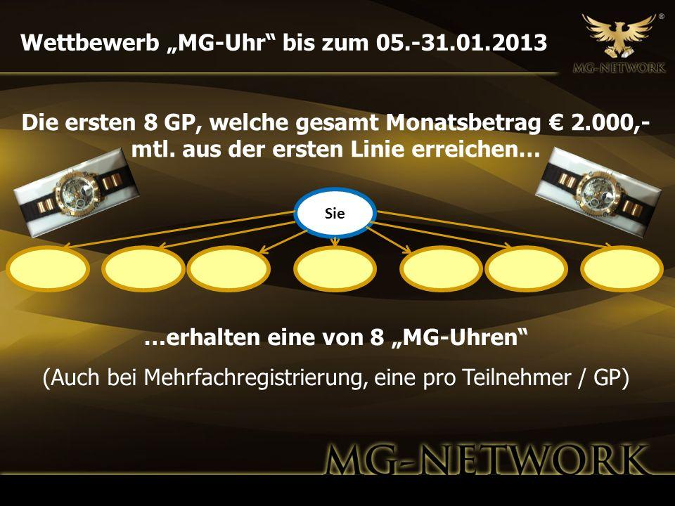 Wettbewerb MG-Uhr bis zum 05.-31.01.2013 Sie Die ersten 8 GP, welche gesamt Monatsbetrag 2.000,- mtl. aus der ersten Linie erreichen… …erhalten eine v