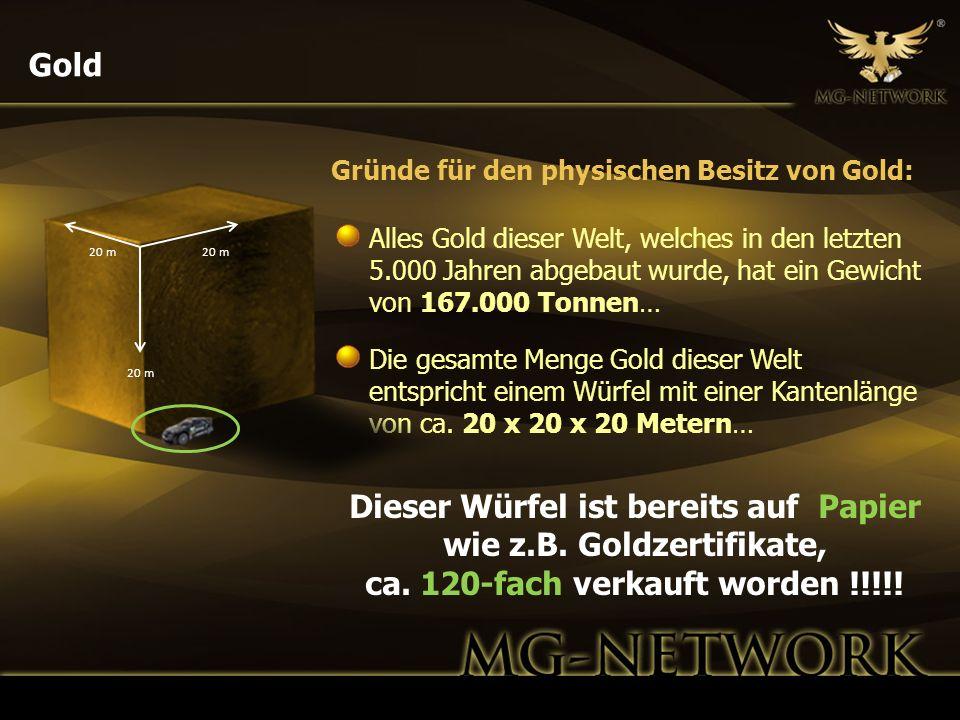 Gold Alles Gold dieser Welt, welches in den letzten 5.000 Jahren abgebaut wurde, hat ein Gewicht von 167.000 Tonnen… Die gesamte Menge Gold dieser Wel