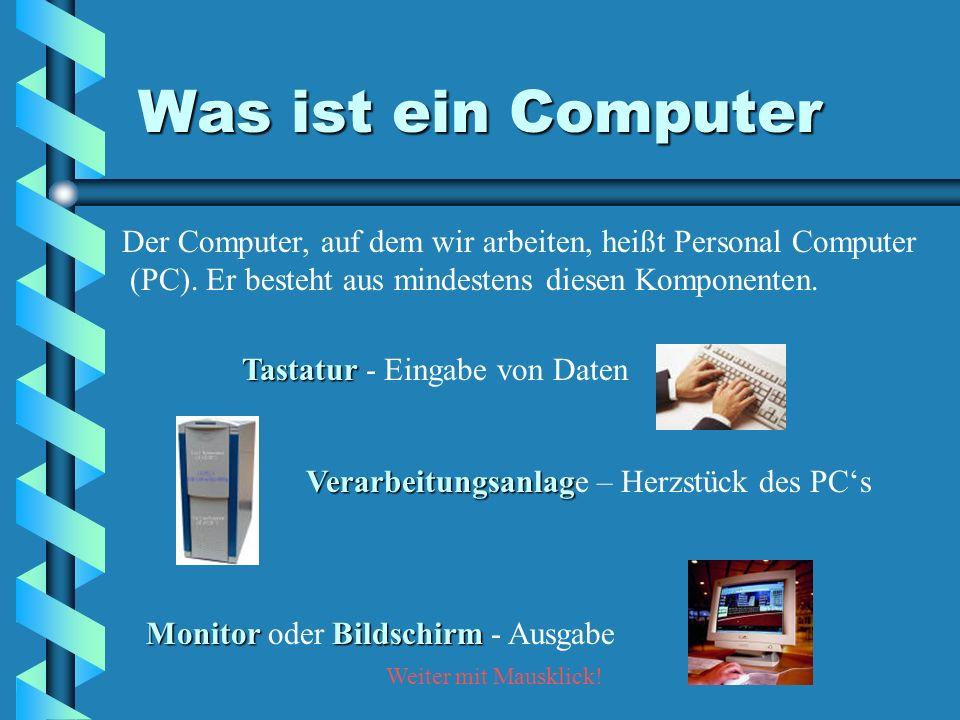 Was ist ein Computer Der Computer, auf dem wir arbeiten, heißt Personal Computer (PC). Er besteht aus mindestens diesen Komponenten. Tastatur Tastatur