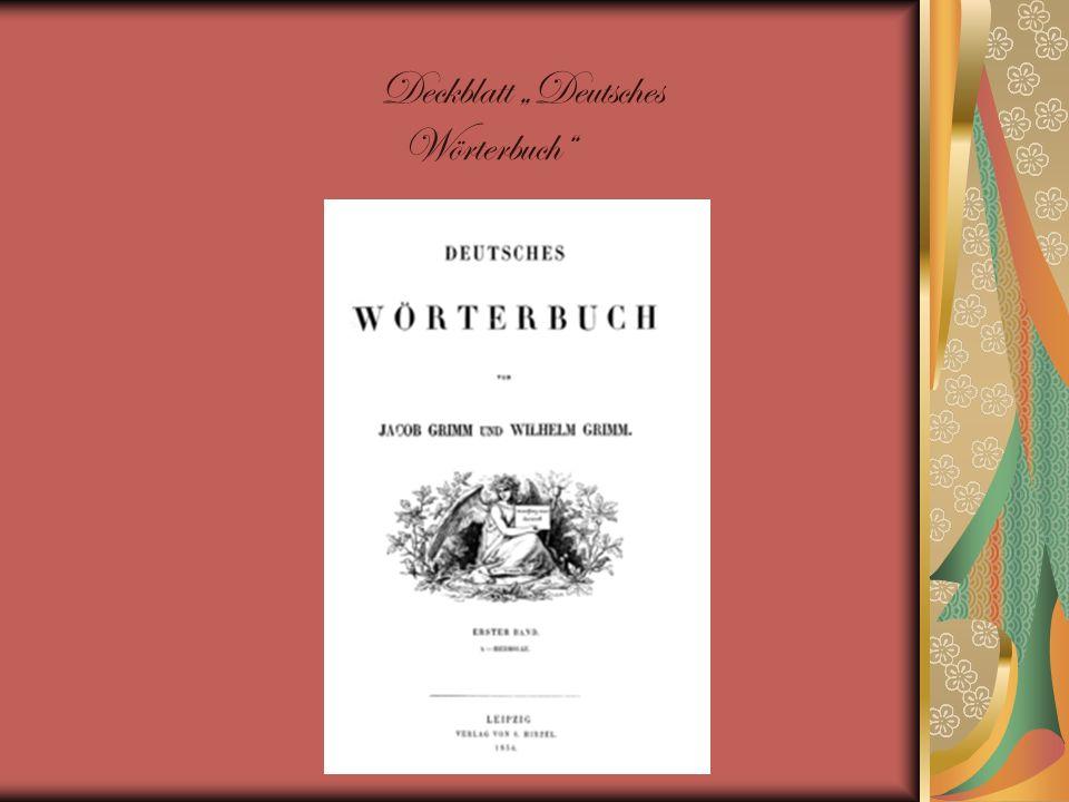 Deckblatt Deutsches Wörterbuch