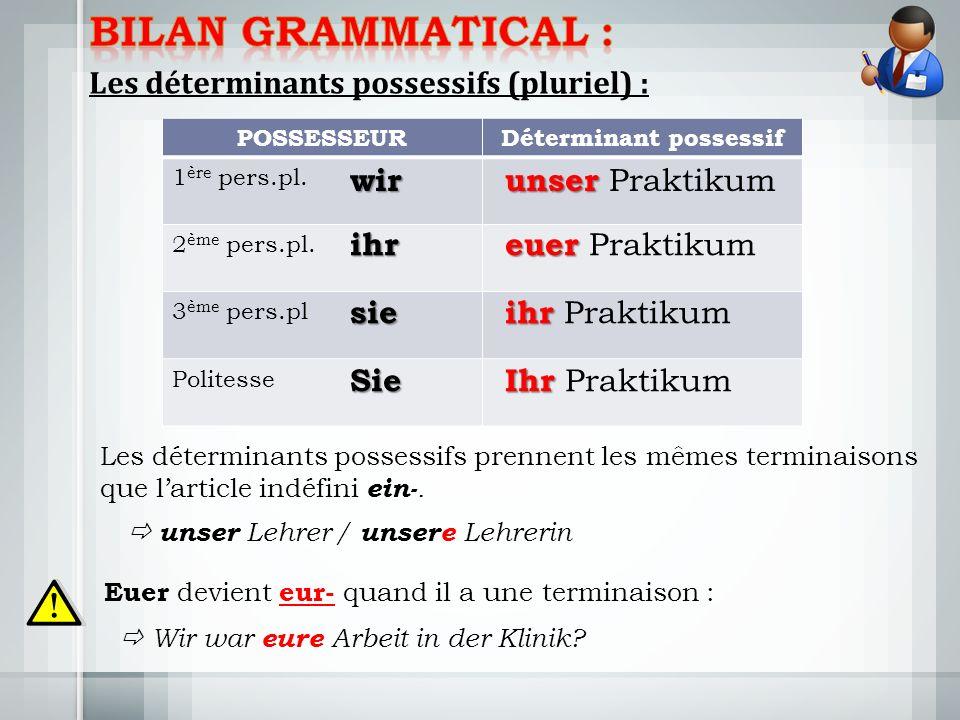 Les déterminants possessifs (pluriel) : POSSESSEURDéterminant possessif 1 ère pers.pl.