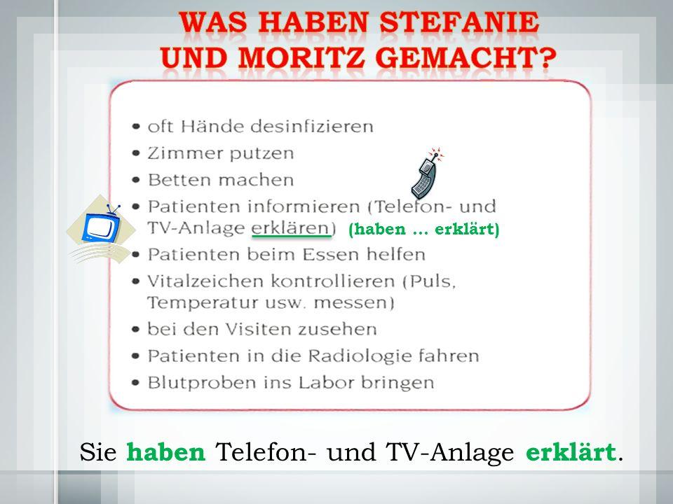 Sie haben Telefon- und TV-Anlage erklärt. (haben … erklärt)