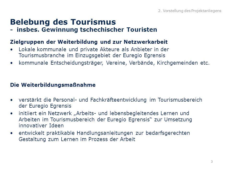 2. Vorstellung des Projektanliegens Belebung des Tourismus - insbes.