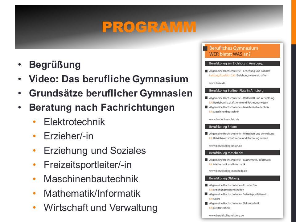 PROGRAMM Begrüßung Video: Das berufliche Gymnasium Grundsätze beruflicher Gymnasien Beratung nach Fachrichtungen Elektrotechnik Erzieher/-in Erziehung