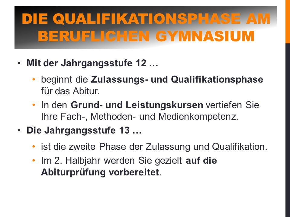 DIE QUALIFIKATIONSPHASE AM BERUFLICHEN GYMNASIUM Mit der Jahrgangsstufe 12 … beginnt die Zulassungs- und Qualifikationsphase für das Abitur. In den Gr