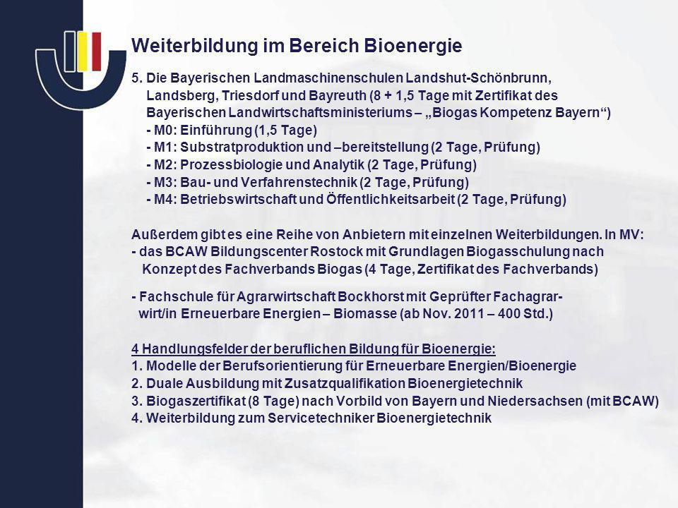 Weiterbildung im Bereich Bioenergie 5. Die Bayerischen Landmaschinenschulen Landshut-Schönbrunn, Landsberg, Triesdorf und Bayreuth (8 + 1,5 Tage mit Z