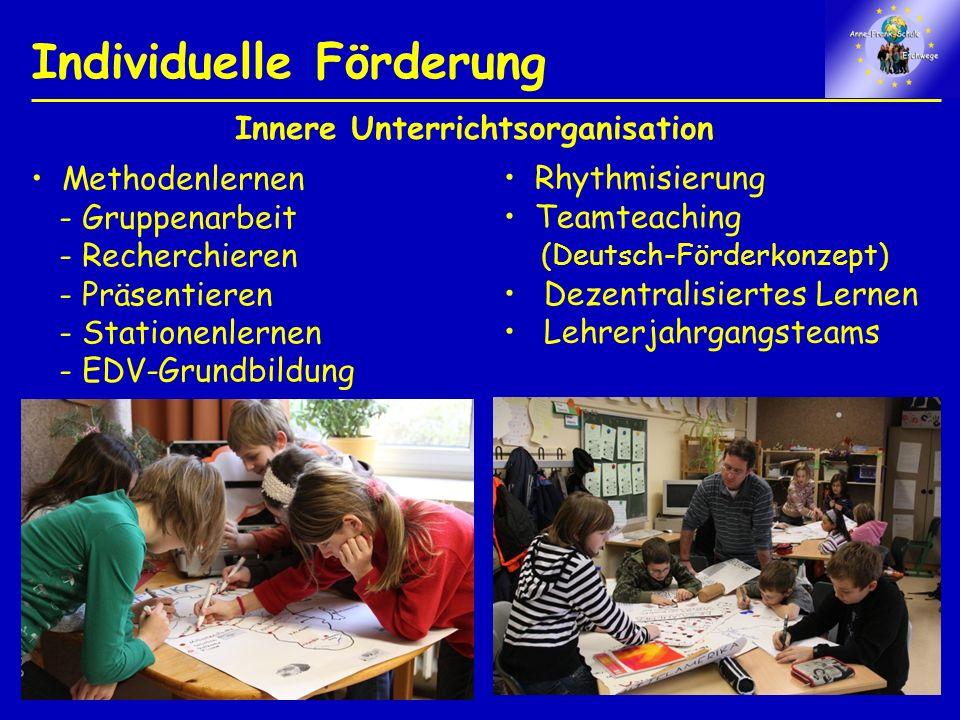 Individuelle Förderung Rhythmisierung Teamteaching (Deutsch-Förderkonzept) Dezentralisiertes Lernen Lehrerjahrgangsteams Methodenlernen - Gruppenarbeit - Recherchieren - Präsentieren - Stationenlernen - EDV-Grundbildung Innere Unterrichtsorganisation
