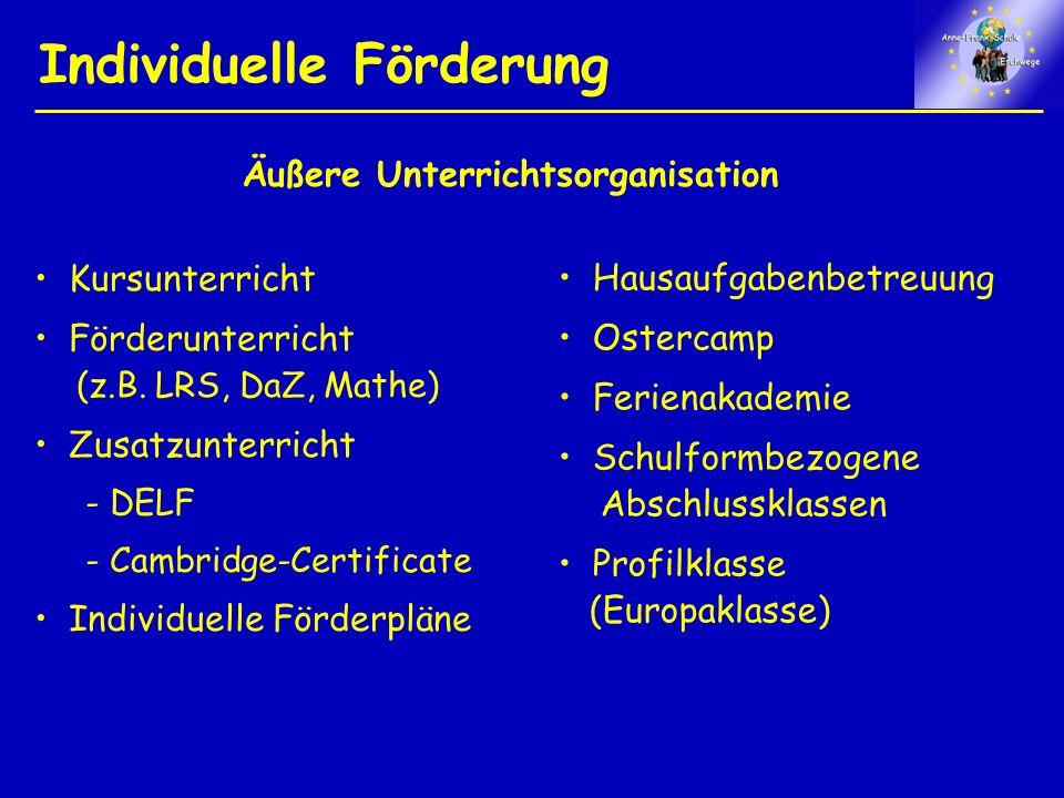 Individuelle Förderung Hausaufgabenbetreuung Ostercamp Ferienakademie Schulformbezogene Abschlussklassen Profilklasse (Europaklasse) Kursunterricht Förderunterricht (z.B.