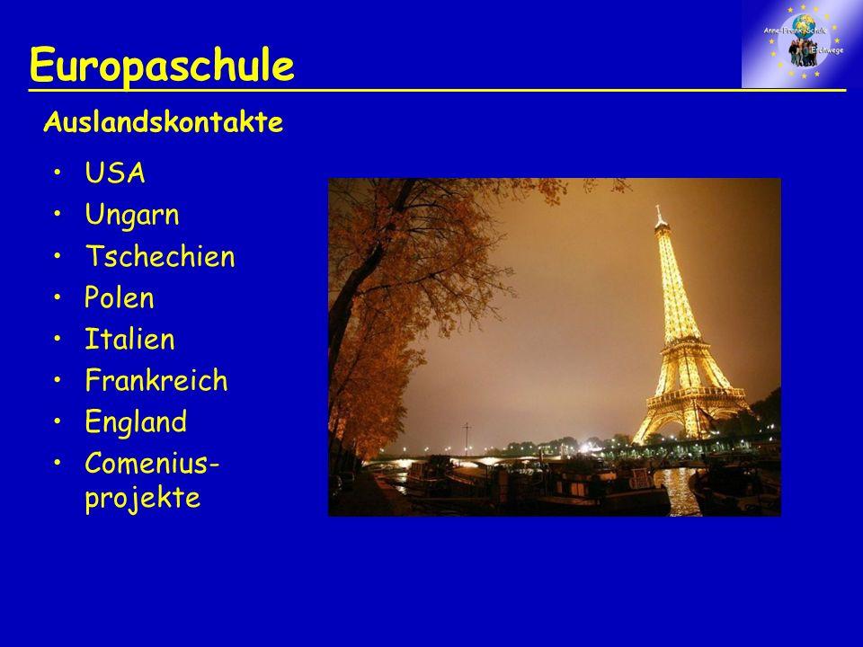Europaschule USA Ungarn Tschechien Polen Italien Frankreich England Comenius- projekte Auslandskontakte